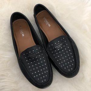 Coach black studded loafers size 6